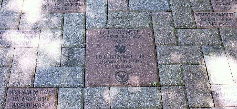 Veterans Garden Walking Path with engraved bricks