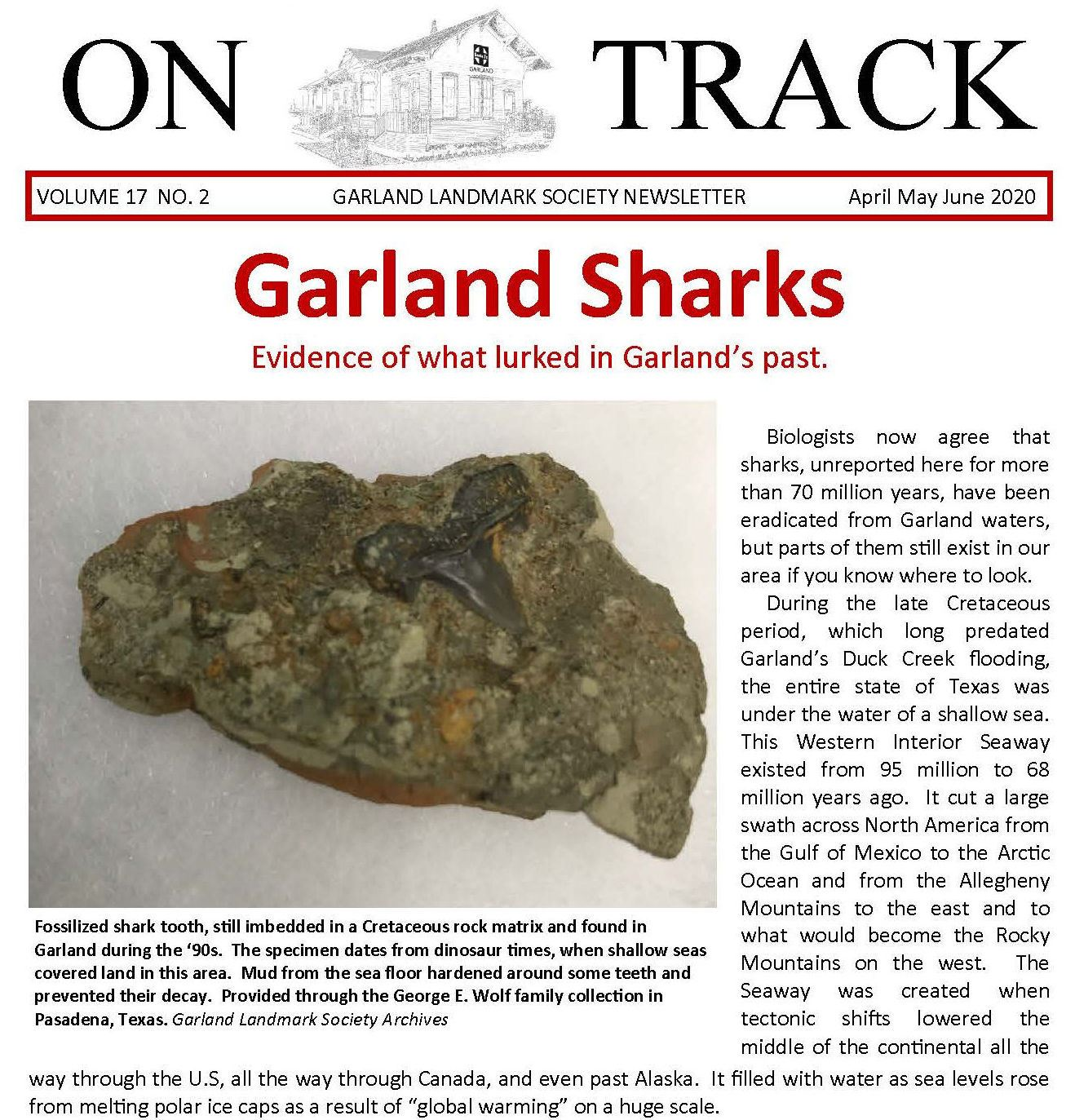On Track Newsletter cover page April 2020 Sharks