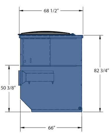 Picture of 8 cubic-yard front-load dumpster with dimensions